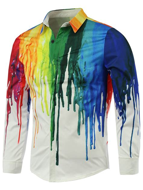 colorful shirts sleeves white colorful paint print covered