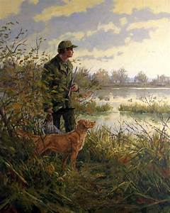 Contemplation - Golden Retriever and Duck Hunter Oil Painting