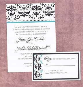 Free damask template for wedding invitations purple black for Damask wedding invitations template free
