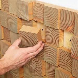 Painel para parede com blocos de madeira