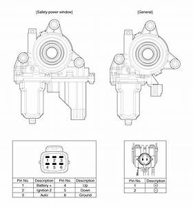 Kia Rio  Power Window Motor Circuit Diagram - Power Windows - Body Electrical System