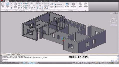home design cad autocad 3d house modeling tutorial 1 3d home design