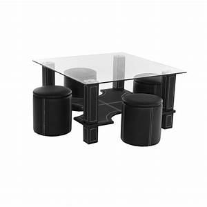 Table Basse 4 Poufs : table basse magda 4 poufs noir ~ Teatrodelosmanantiales.com Idées de Décoration
