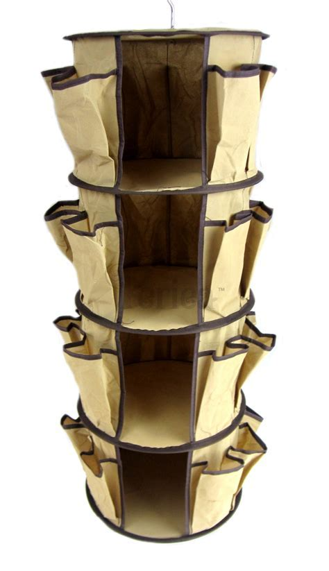 Hanging Round Shoe Rack Storage With Brown Fabric Cover