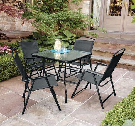 walmart patio furniture sets mainstays cranston 5 sling folding dining set