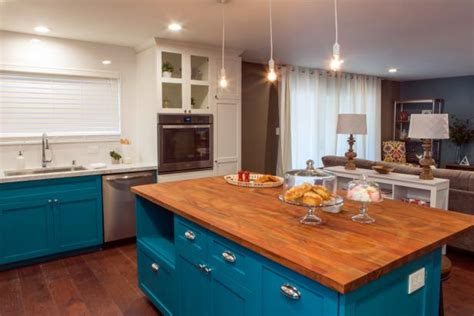 large kitchen island  bakers teal kitchen hgtv