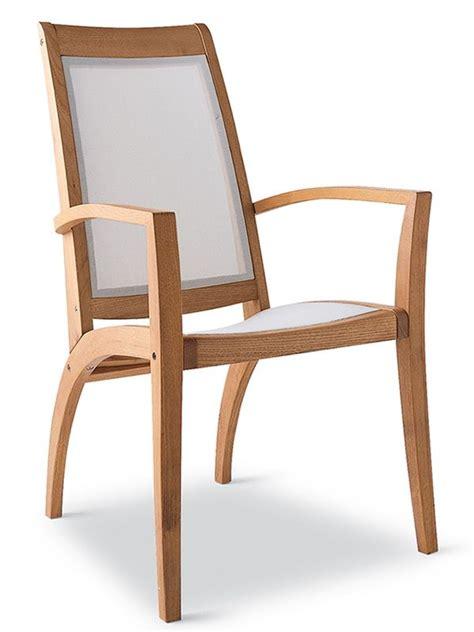 chaise en bois avec accoudoir wave bt fauteuil de jardin en bois robinier et textilene blanc sediarreda