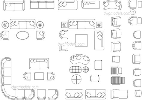 living room furniture autocad blocks dwg blocks cad