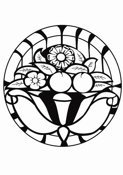 Deco Coloring Mandala Adults Pages Stained Glass