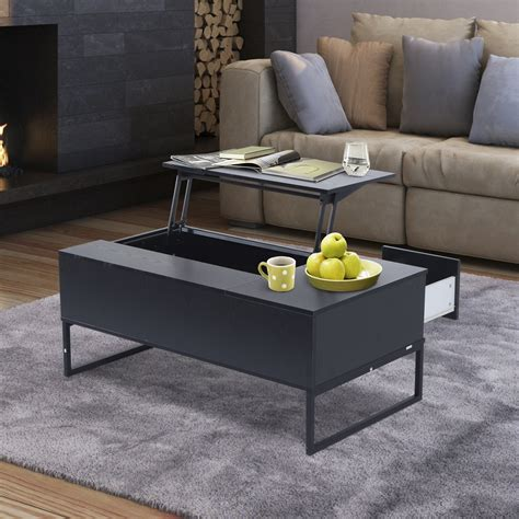 """Three open storage compartment plus hidden storage and a convertible workstation. HomCom 43"""" Modern Lift Top Coffee Table Desk With Hidden Storage And Drawer - Black Woodgrain ..."""