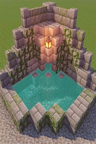 Minecraft Fountain Houses Tutorial Survival Blueprints Cool