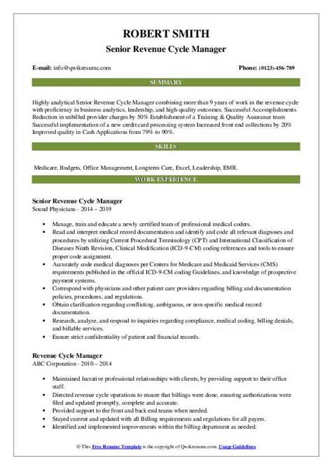 revenue cycle manager resume samples qwikresume