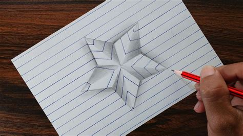 Very Easy!! 3d Star On Line Paper