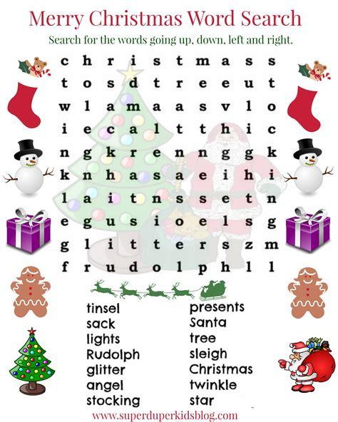 free christmas word search printable