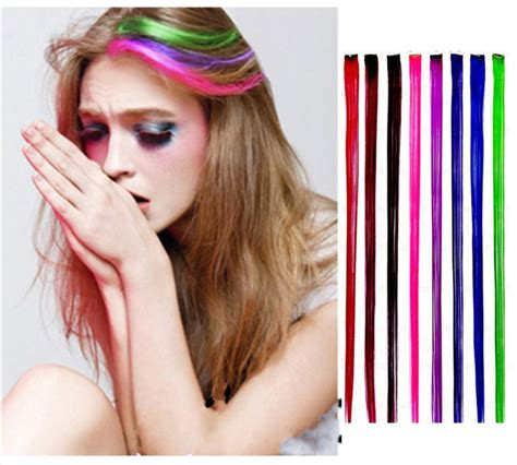 colorful hair extensions fashion colorful hair extensions colored highlight rock