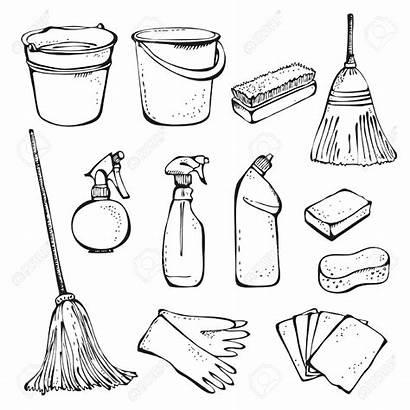 Tools Cleaning Supplies Drawing Vector Clean Office