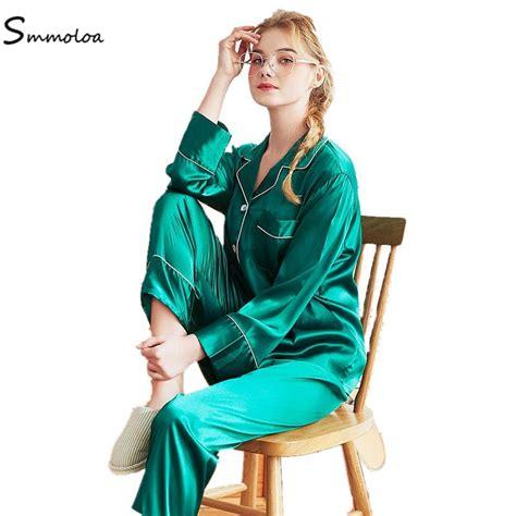 Smmoloa Women Silk Satin Pajamas Green Pyjamas Set Long