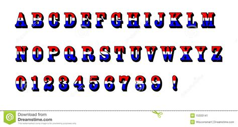 red white blue alphabet letters text patriotic usa stock