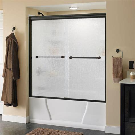 home depot tub shower doors delta silverton 60 in x 58 1 8 in semi frameless sliding