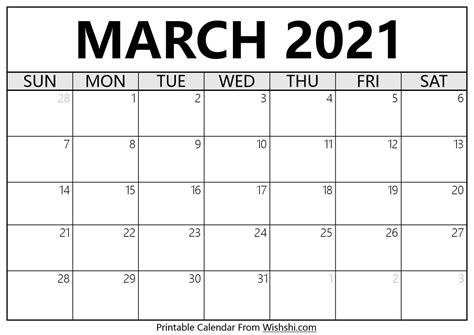 17+ March 2021 Calendar  Pictures