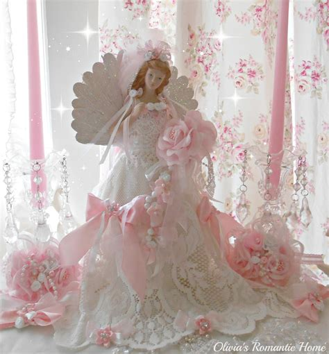 shabby chic christmas tree toppers pink christmas angel christmas tree topper bridal lace angel