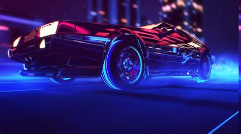 synthwave 1980s neon delorean car retro