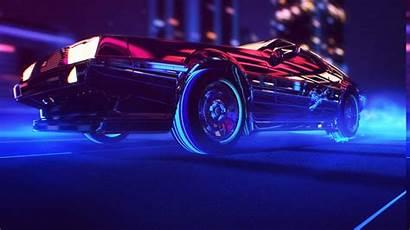 Neon Retro Delorean Synthwave 1980s Games 80s