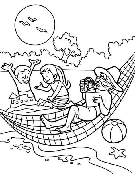 summertime holiday   beach   family coloring