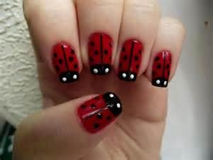Lady bug nails nail art and