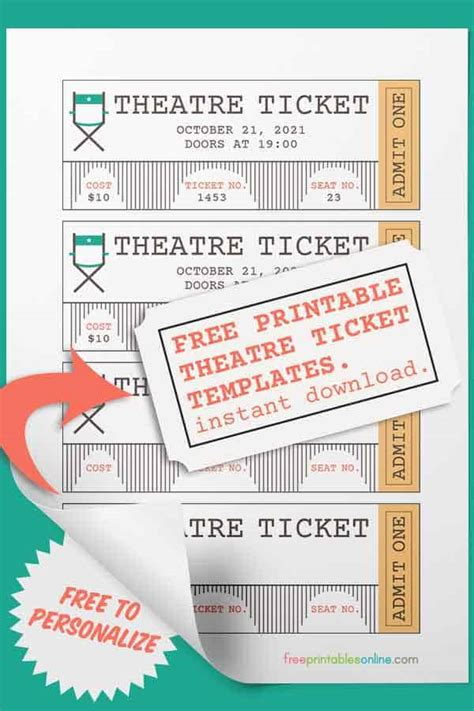theatre ticket template  printables