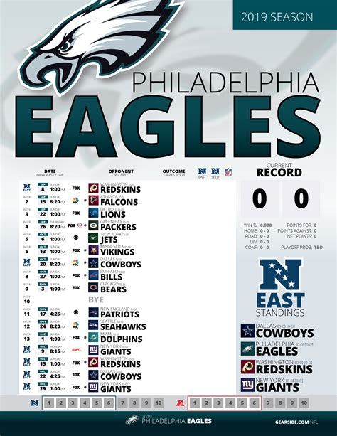 ongoing  printable eagles schedule eagles