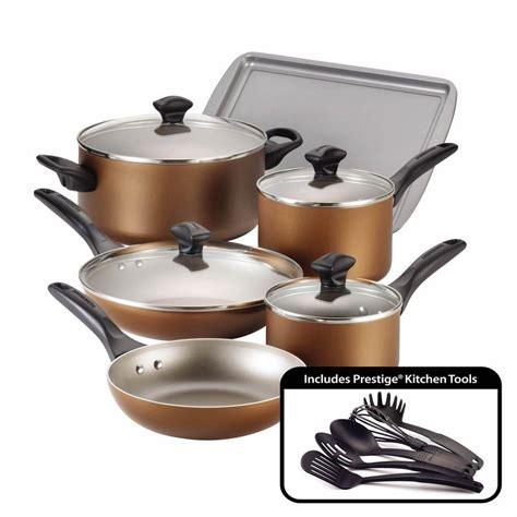 farberware  piece copper cookware set  lids   home depot