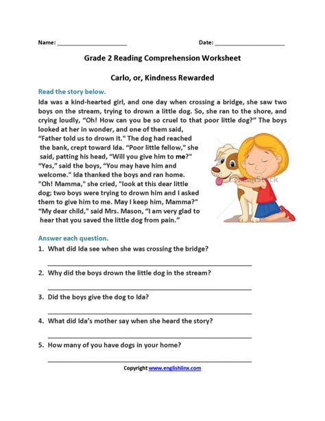 1st grade reading comprehension worksheets choice