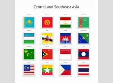 Central and Southeast Asia Postage Stamp Flags Collection
