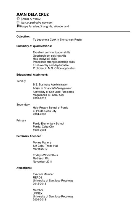 Chronological Resume Exle High School by Sle Resume For Business Administration Fresh Graduate