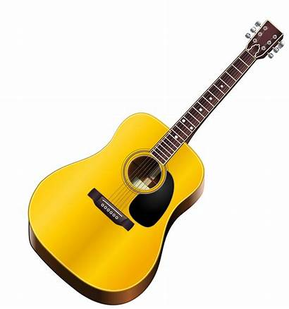 Guitar Clipart Instruments Acoustic Musical Yellow Vector