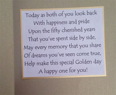 Inside Of Golden Wedding Anniversary Card The Sentiment
