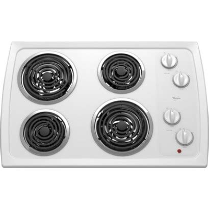 whirlpool coil electric cooktop drip heating pans turn elements push chrome controls