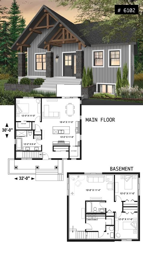 Small and affordable bungalow house plan with master on