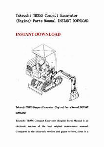 Takeuchi Tb35 S Compact Excavator  Engine  Parts Manual