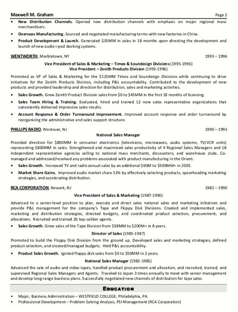senior executive resume sales and marketing resumes