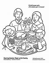 Coloring Dinner Printable Clipart Drawing Meal Easter Restaurant Thanksgiving Together Sharing Cameo Sheets Preschool Eating Coloriage Repas Dessin Coloringpagesgreat Science sketch template
