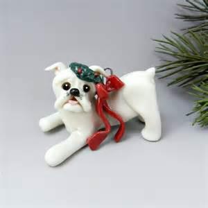 bulldog english white christmas ornament figurine wreath