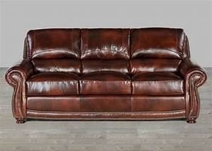 top grain brown leather sofas with nailheads With best leather sofa