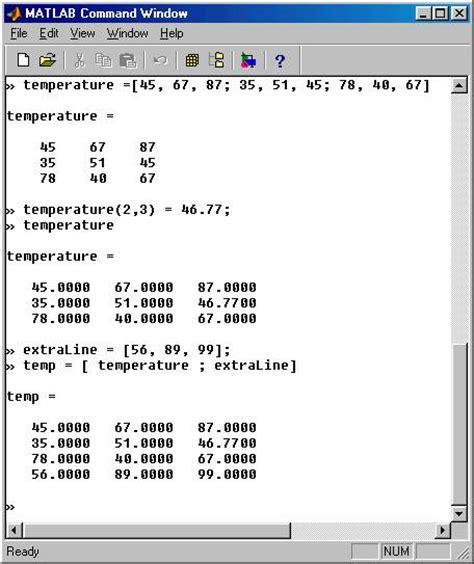 MATLAB Entering / constructing / displaying arrays
