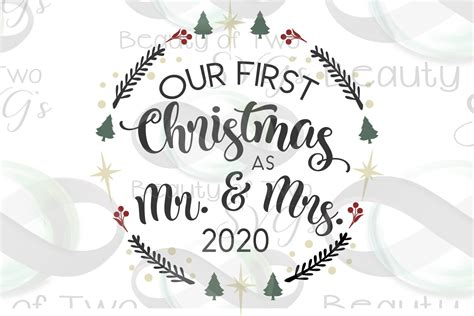 This article may include affiliate links. First Christmas as Mr & Mrs 2020 ornament svg, newlywed ...