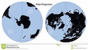 World Map Polar Projection Stock Vector  Illustration Of