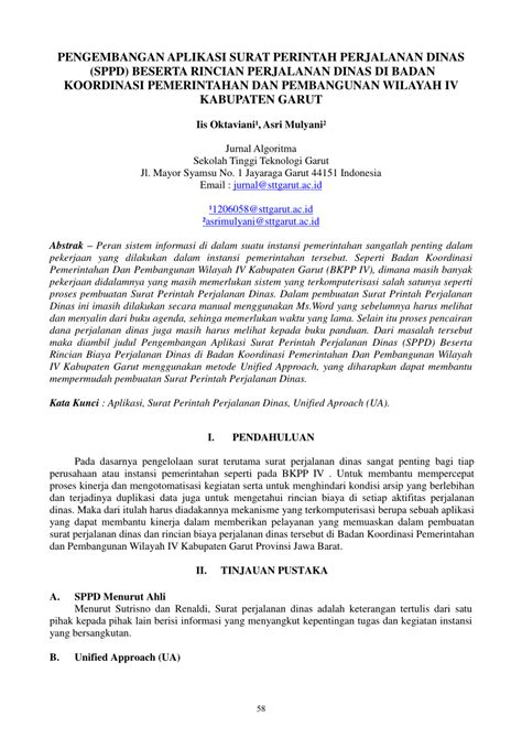 Surat Perjalanan Dinas by Pdf Pengembangan Aplikasi Surat Perintah Perjalanan