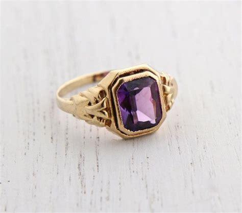 antique  yellow gold purple stone ring art deco