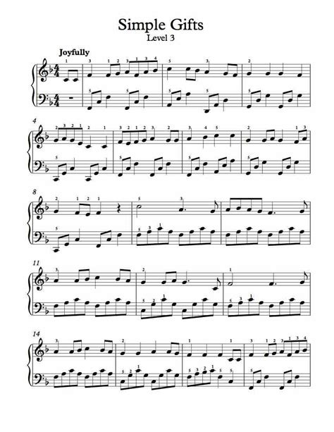 free piano arrangement sheet music simple gifts level 3 free sheet music pinterest level
